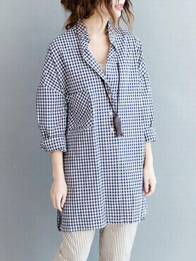 Women Casual Plaid Stand Collar Loose Blouses