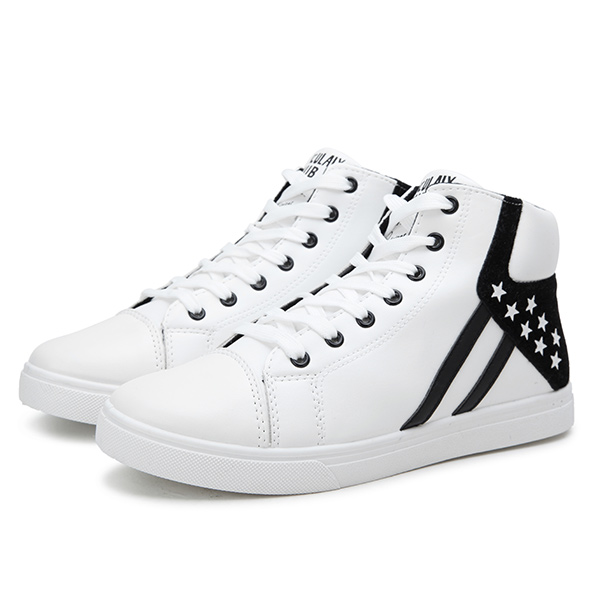 New Men High Top Outdoor Fashion Casual Lace-Up PU Sport Shoes Short Boots