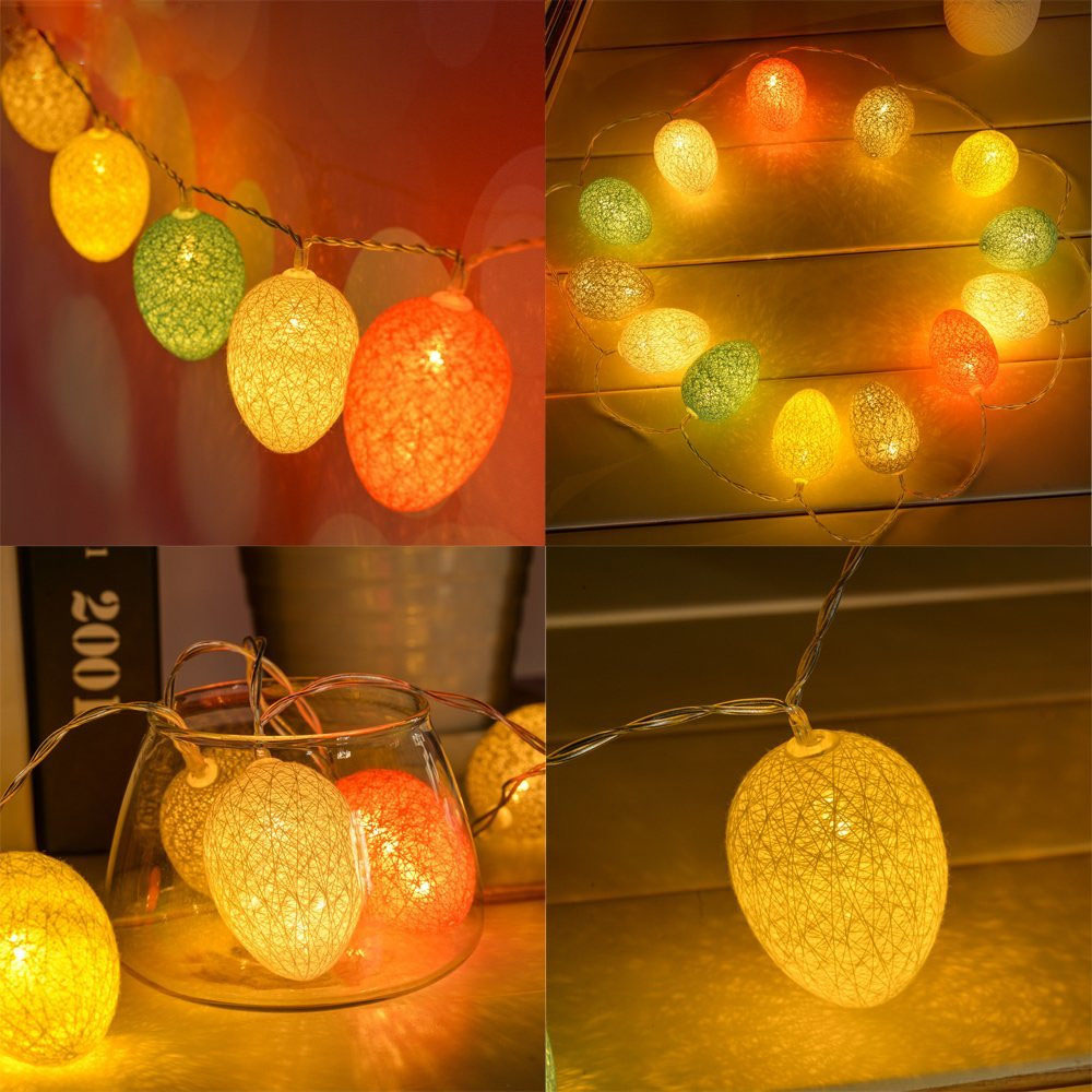 KCASA 1.8M 10 LED Cotton Easter Egg String Lights LED Fairy Lights for Festival Christmas Halloween Party Wedding Decoration Battery Powered