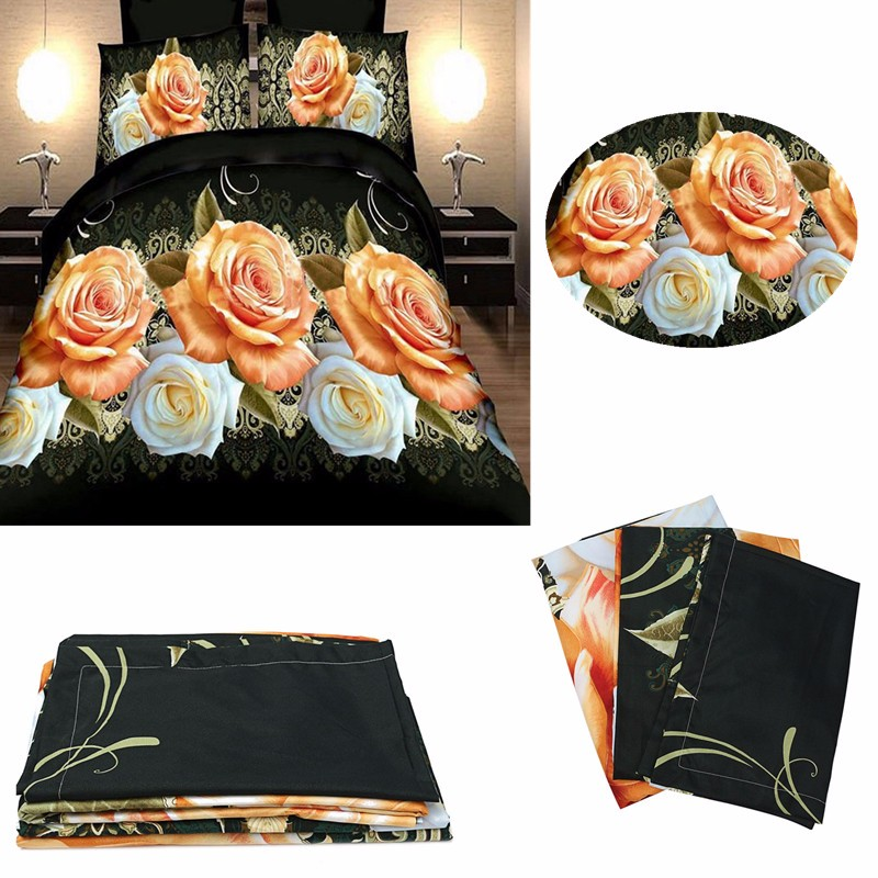 3 Or 4pcs 3D Rose Flowers Reactive Dyeing Polyester Fiber Bedding Sets Twin Queen Size