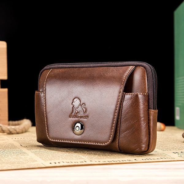 Men Genuine Leather Vintage Minimalist Fashion 6 Inch Phone Bag Waist Bag Crossbody Bag
