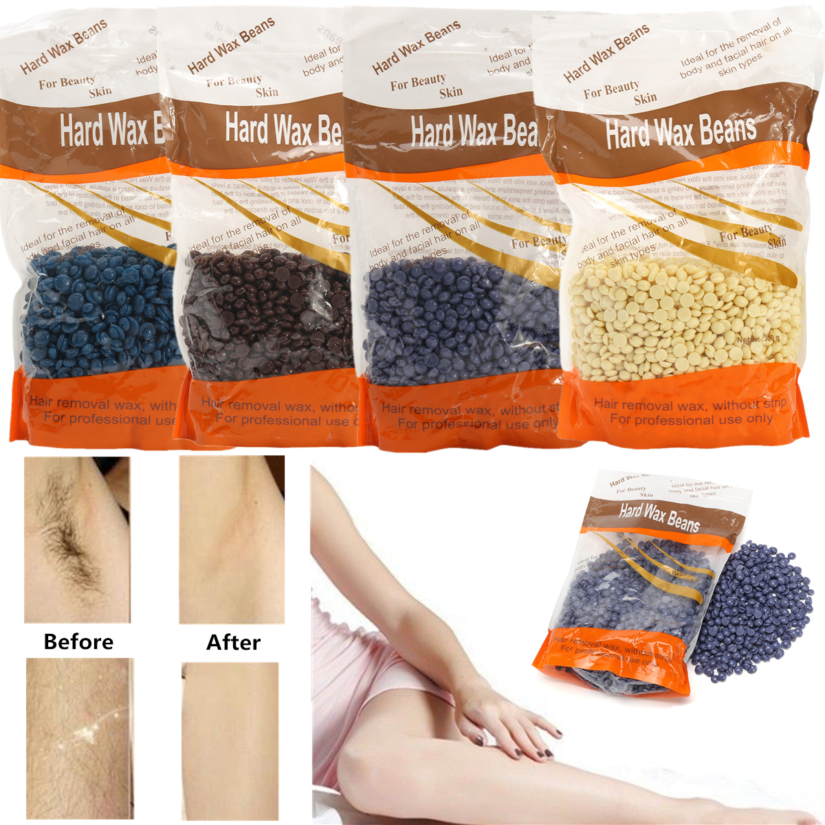 300g Hot Film Hard Wax Depilatory Beans Pellet Waxing Body