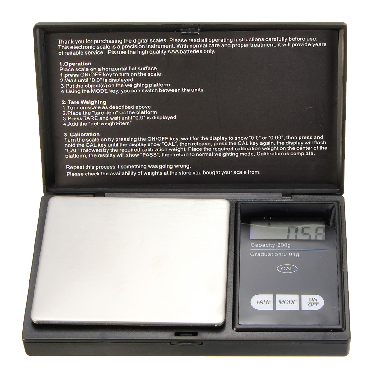 200g x 0.01g Mini Precision Digital Scale Kitchen Food Reloading Powder Grain Jewelry Carat Black