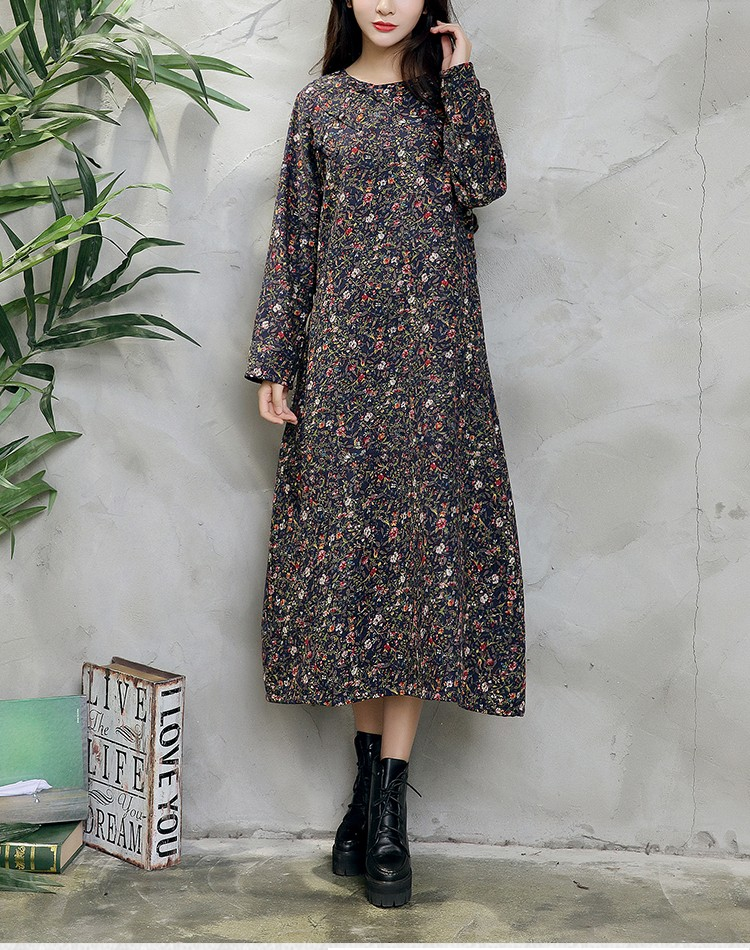 Ethnic Velvet Floral Print Long Sleeve Mandarin Collar Women Dress