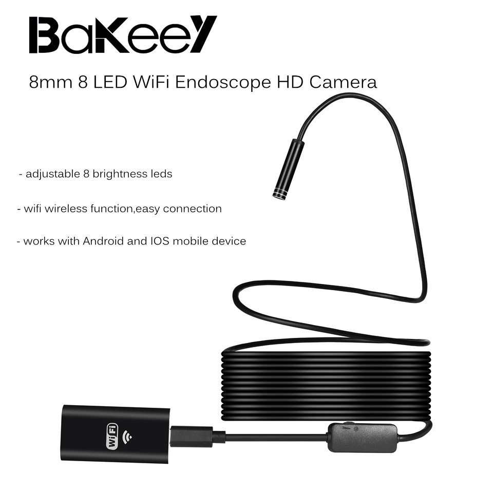 Bakeey 8mm 8 Led WiFi Endoscope HD Camera Borescope Waterproof Rigid Cable for Android IOS Laptop PC
