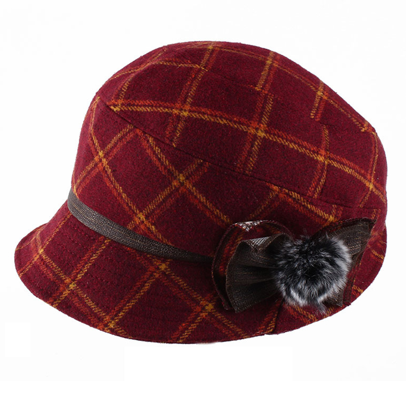 Women Windproof Thicken Woolen Blending Beret Caps