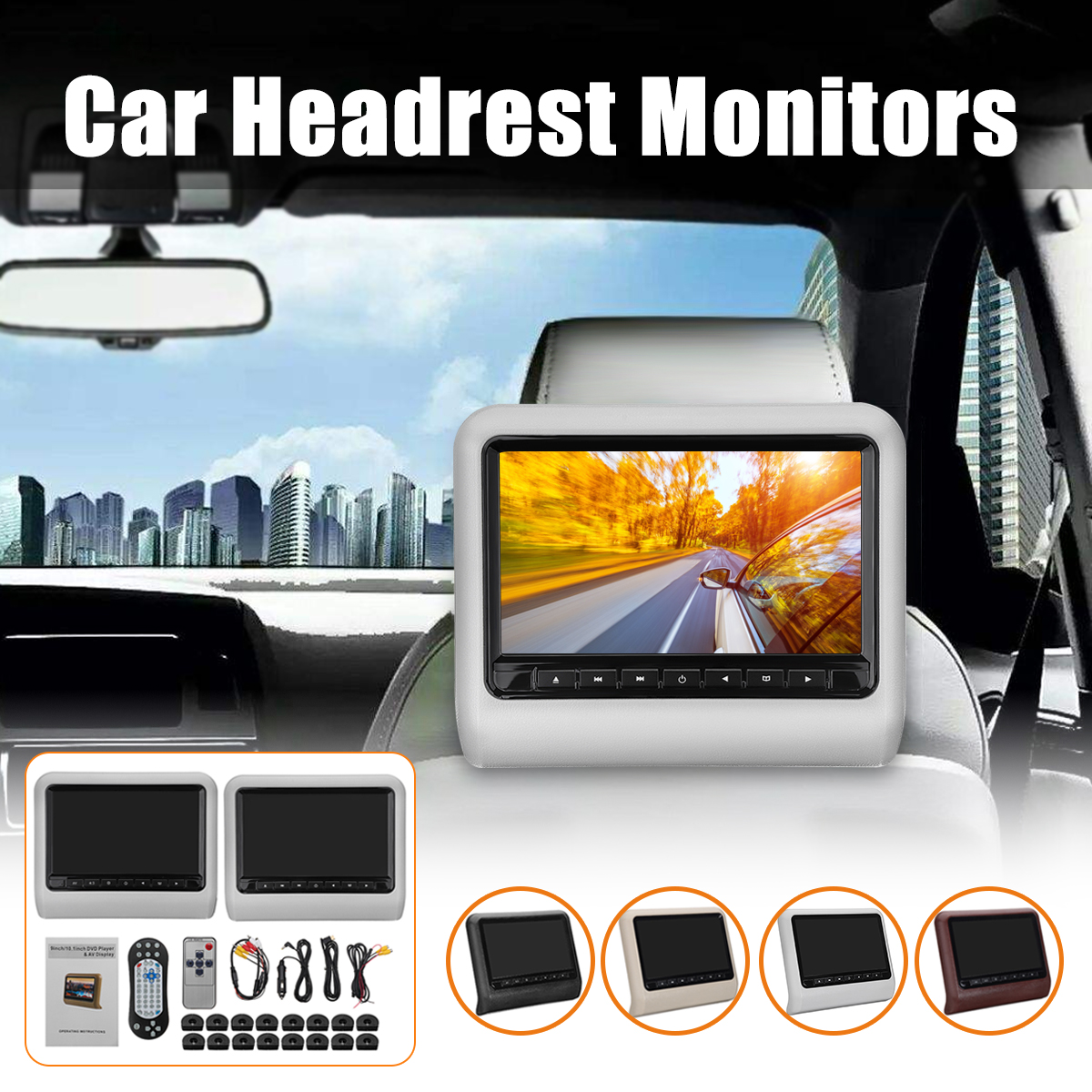 2x 9 Inch Digital Screen Car Headrest Monitor AV+DVD USB SD Player Remote Control