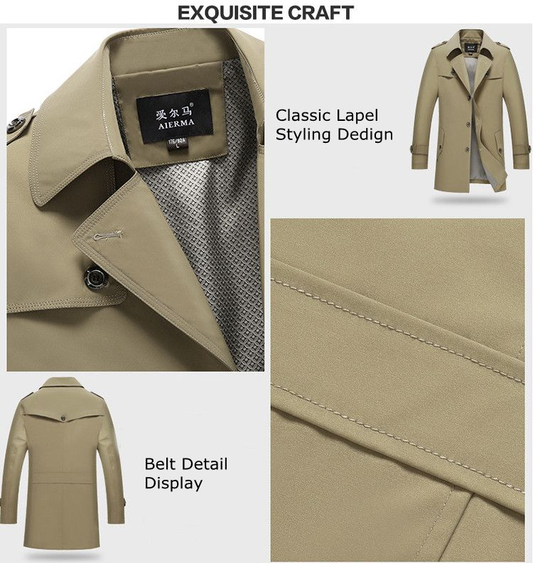 Spring Autumn Men's Business Casual Lapel Trench Coat Single Breasted Long Style Windbreaker