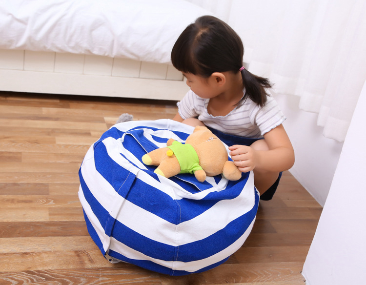 Honana Large Capacity Stuffed Animal Storage Bean Bag Canvas Chair Hammock Home Organizer for Kids' Plush Toys Clothes