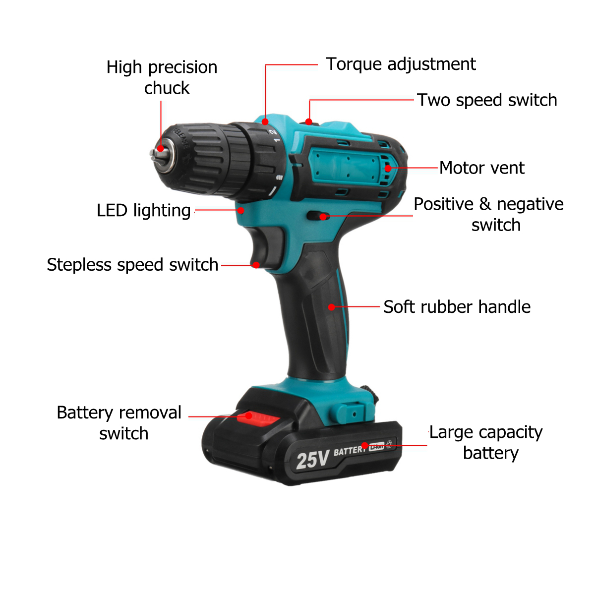 25V Rechargable Lithium Power Dirlls Cordless Electric Drill 2 Speed Adjustment LED Lighting Screw Driver Tool With 1 Or 2 Batteries