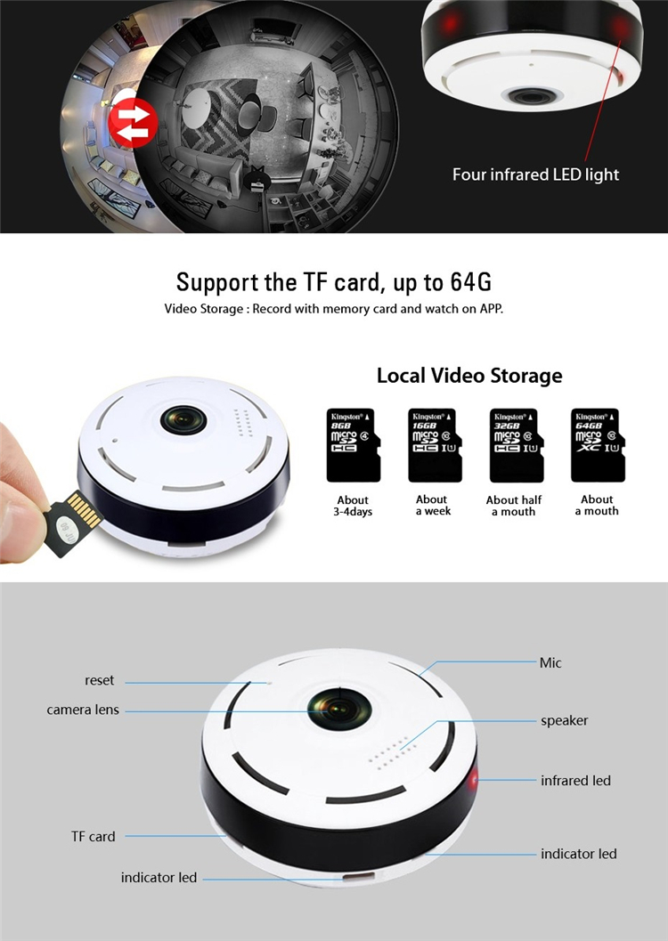 Mini 960P WiFi Panoramic Camera 360 Degree Fisheye IP Camera Home Security Surveillance CCTV Camera