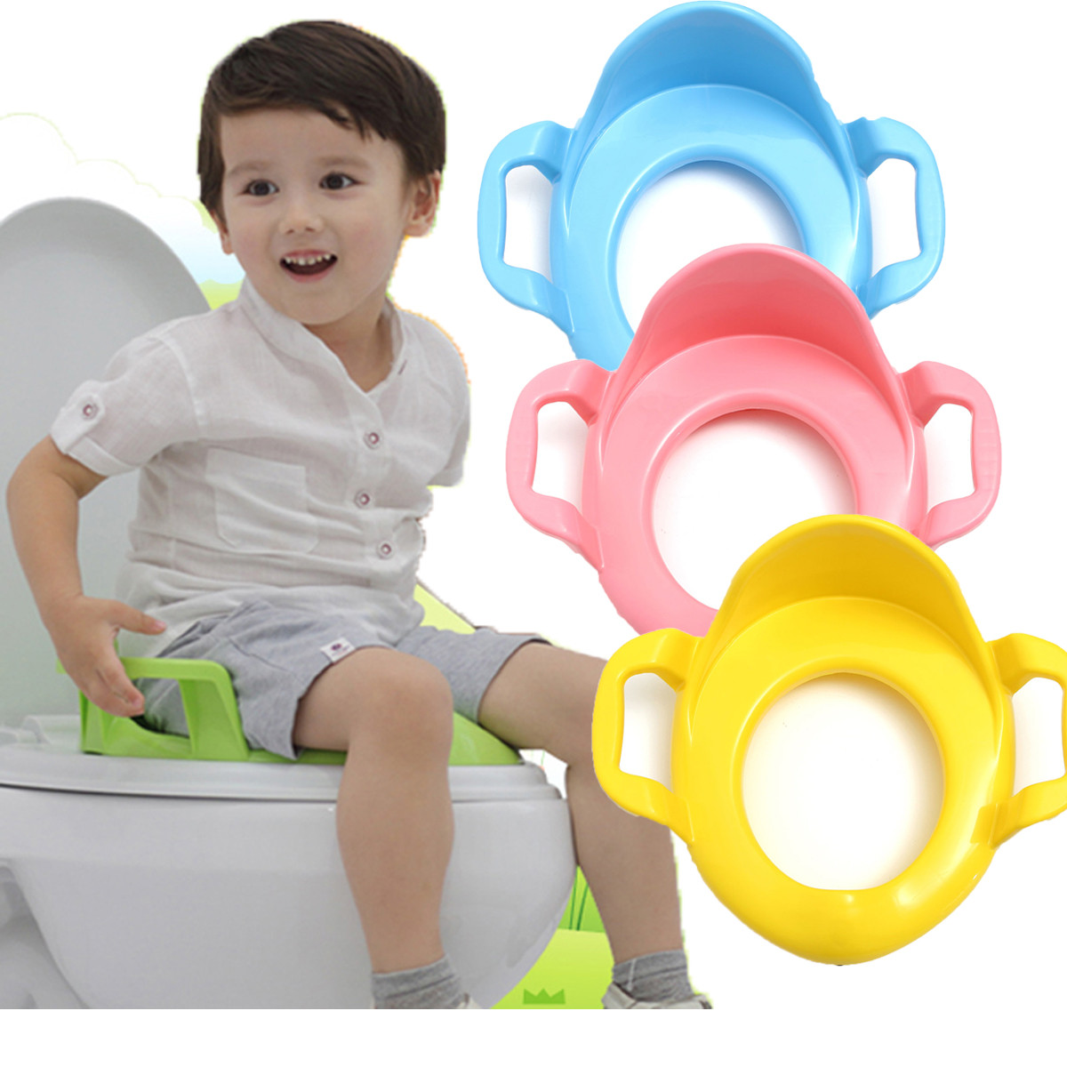 Children Kids Baby Toddler Potty Seat Cushion Toilet Urinal Training Stand Stool With Handle