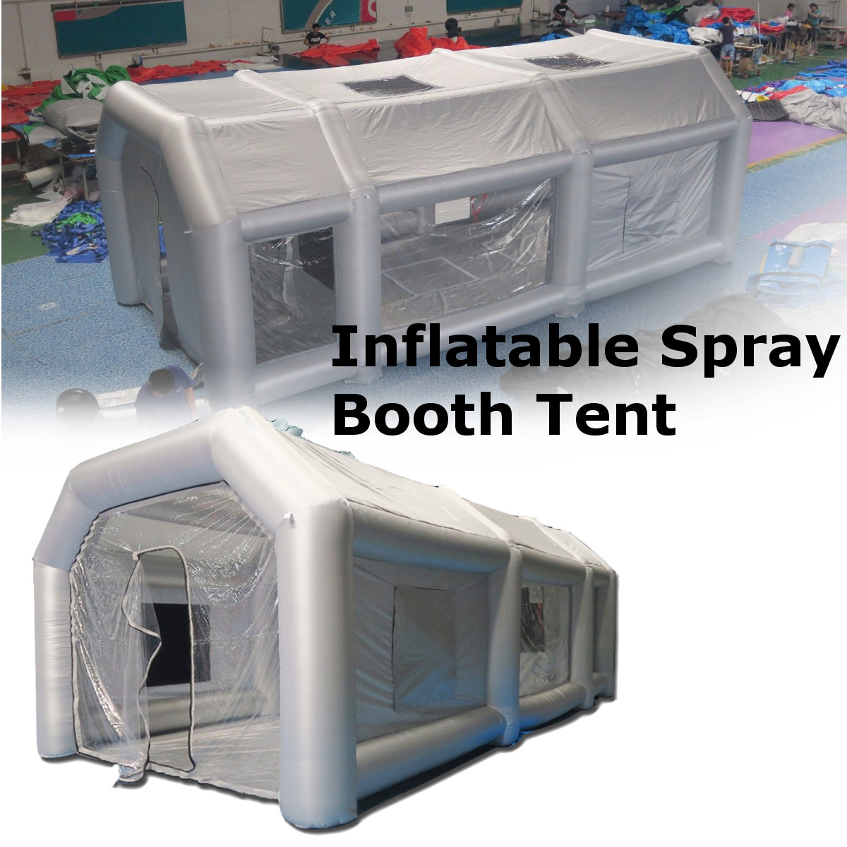 Portable Giant Oxford Cloth Inflatable Tent Workstation Spray Paint With 110V Blower