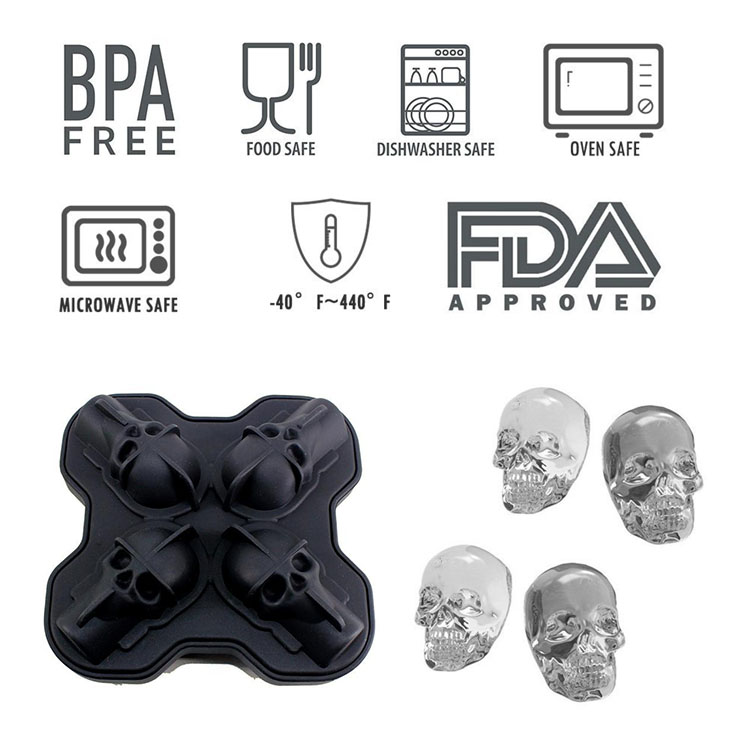 honana 4 grid skull silicone ice mold trays for jelly candy