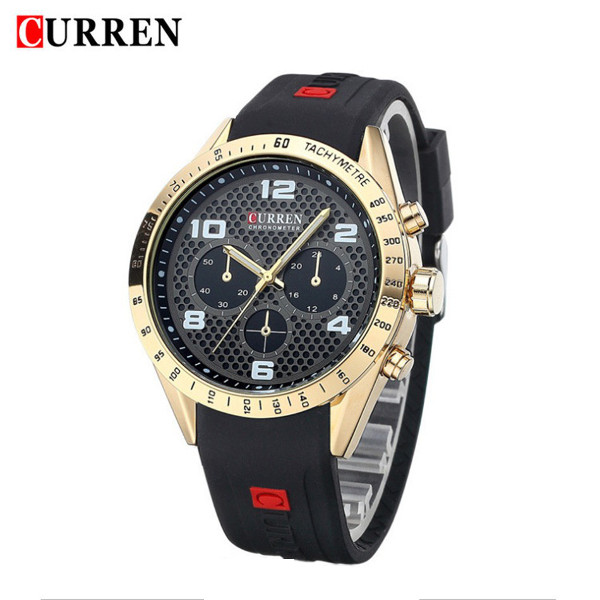 CURREN 8131 Silicone Band Big Dial Men Quartz Wrist Watch