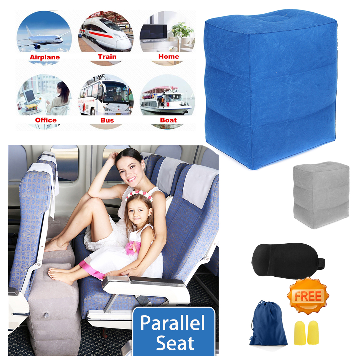 40x45x30CM Car Airplane Inflatable Travel Footrest Parallel Seat Sleep Pillow Cushion