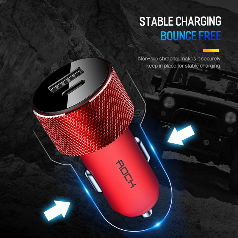 ROCK QC3.0 2.4A USB Type C PD Fast Car Charger For Oneplus 6T iPhoneX Pocophone f1 Xiaomi Mi 8 Note9