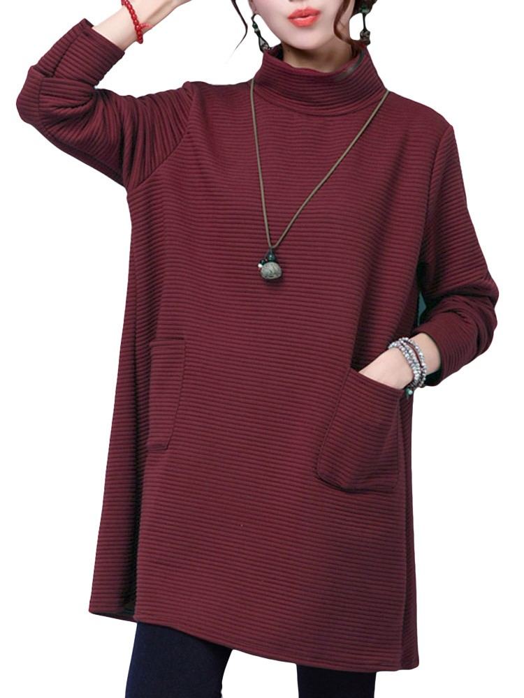 Vintage Women Solid Turtleneck Long Sleeve Thick Loose Dress