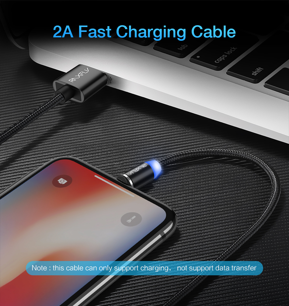RAXFLY Type C LED Magnetic Braided Charging Phone Cable 1m For Oneplus5t Xiaomi 6 Mi A1 Huawei Mate 10 Pro S9+