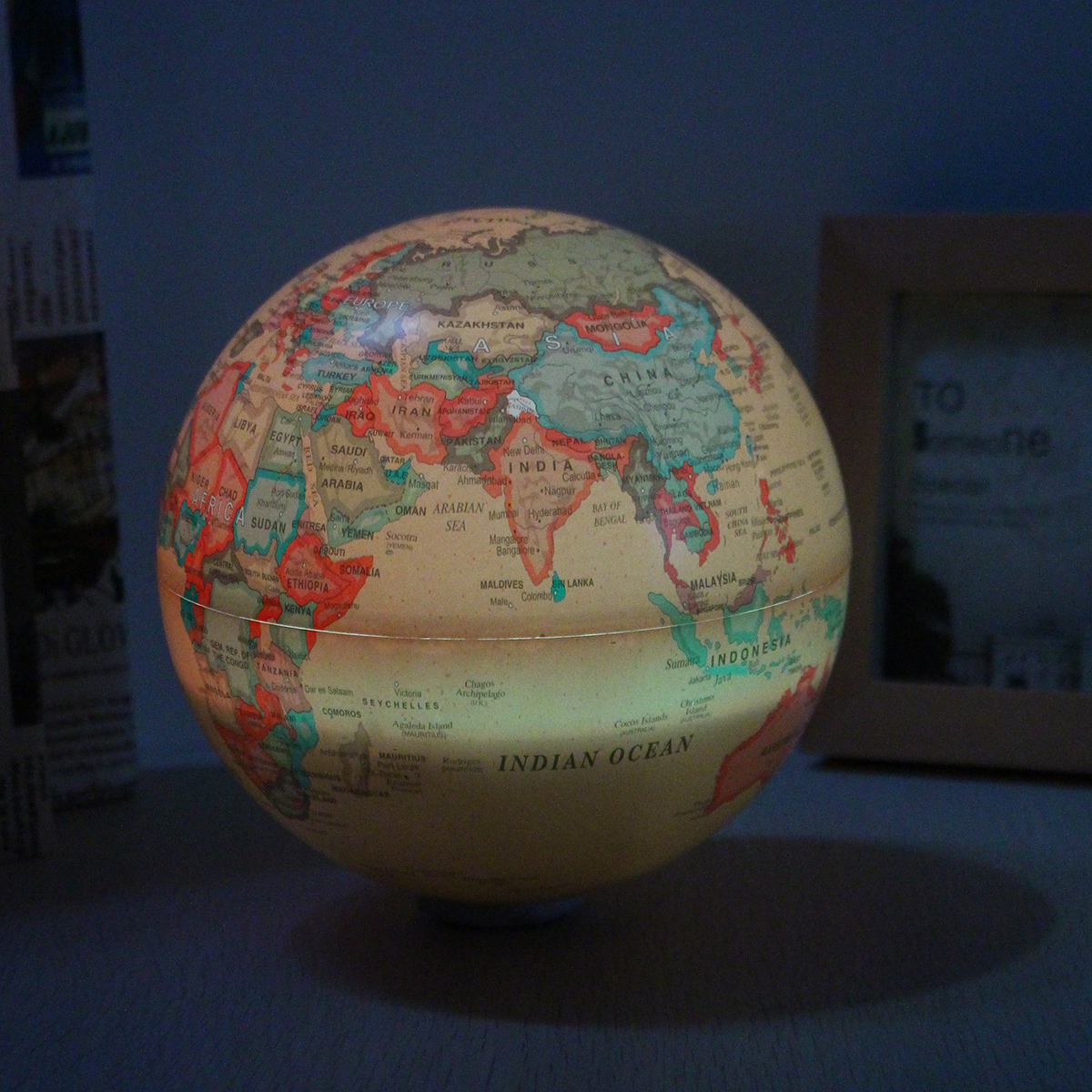 15cm Electric LED Self Rotating World Globe Earth Map Color Light Geography Education Decor