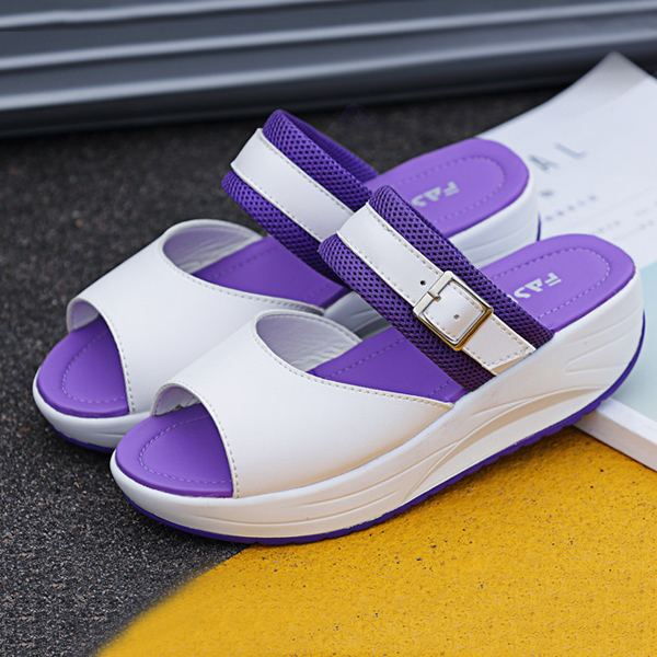 Women Rocker Sole Shoes Flat Sandals Casual Slipper