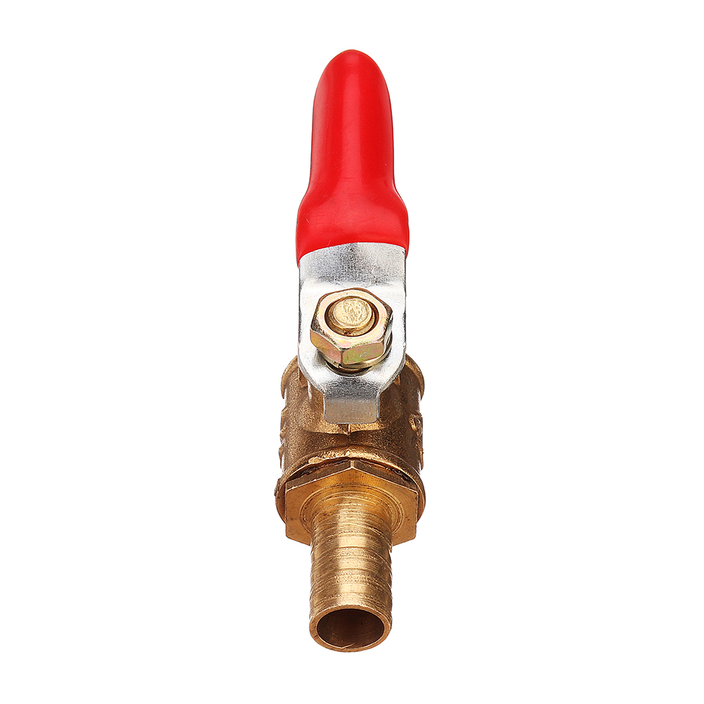 8/10mm Hose Barb Inline Brass Shutoff Mini Ball Valve Pipe Fitting 180° Handle Water Gas Fuel Line