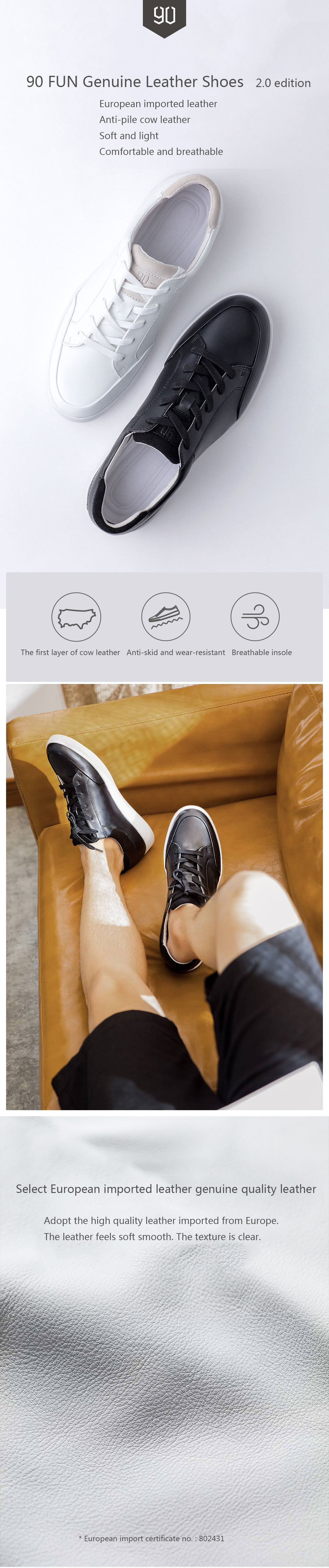 XIAOMI 90 FUN Women Leisure Genuine Sport Lace-up Leather Cowhide Breathable Casual Shoes Sneakers