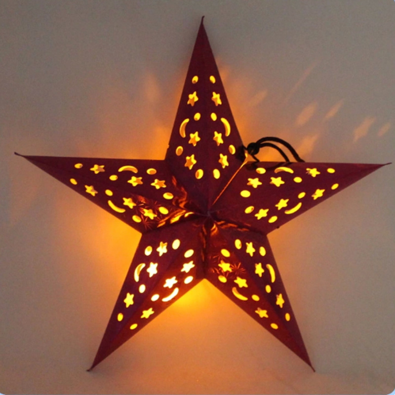 Pentagram Lampshade Star Paper Lantern Hanging Ornament Bar Party Home Decors 30cm 40cm 50cm