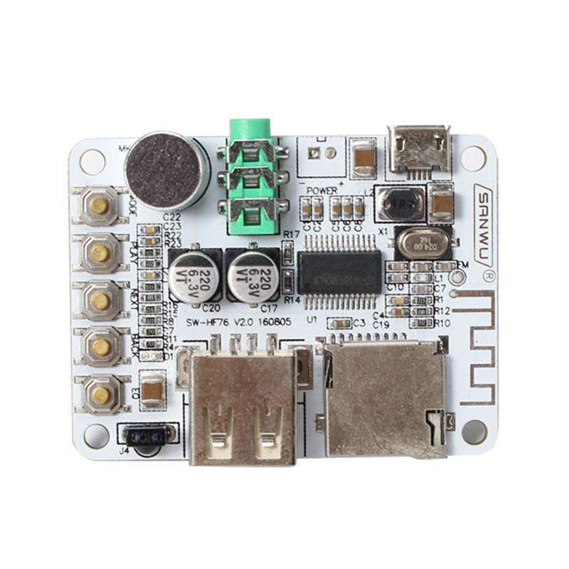 SANWU® Upgrade Version Wireless Bluetooth Audio Receiver Digital Amplifier Board With Remote Control And Microphone USB Port TF Card Slot Decoding Play