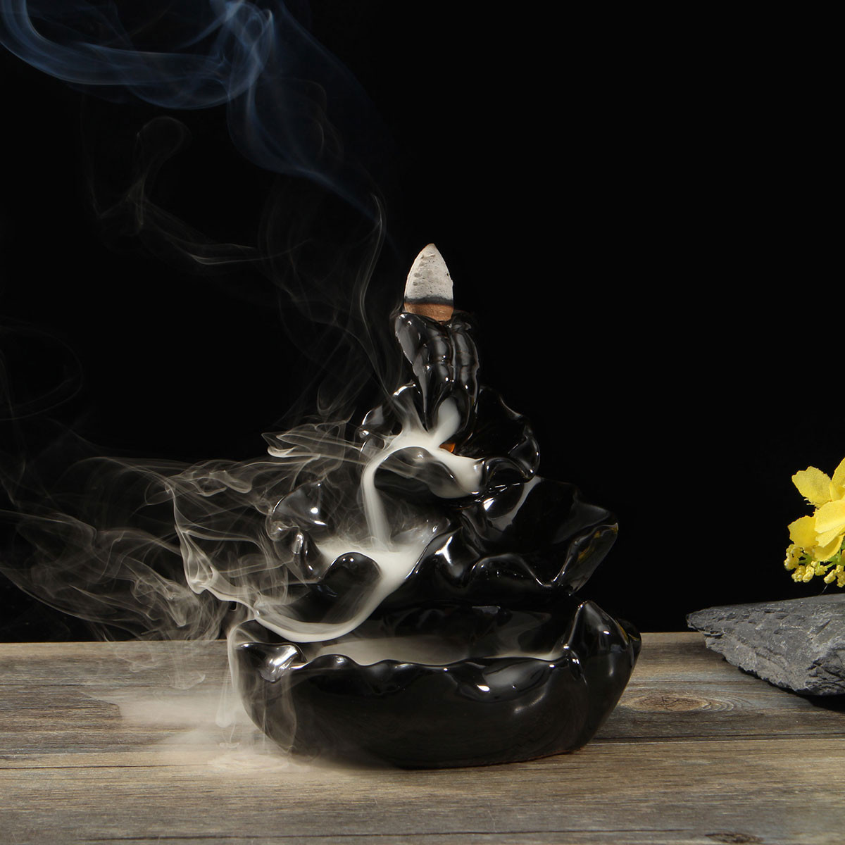 Ceramic Backflow Incense Cone Burner Feng Shui Censer Holder Water Stream Home Fragrant Furnace