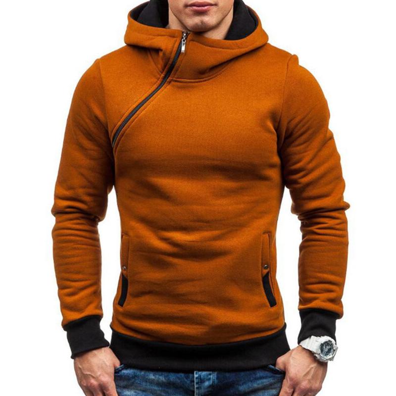 Купить со скидкой Men's Casual Modish Tilted Zipper Patchwork Sweatshirt