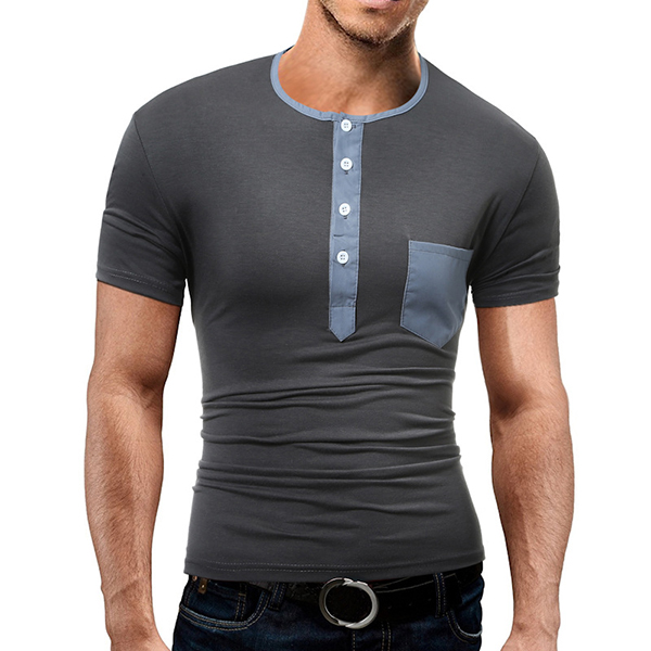 Men's Casual Multi Button O-neck T-shirt Chest Pocket Design Short Sleeve Tops