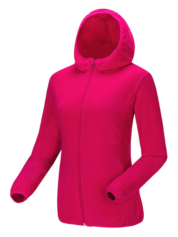 Women Fleece Hooded Long Sleeve Windproof Hiking Sportswear Coat