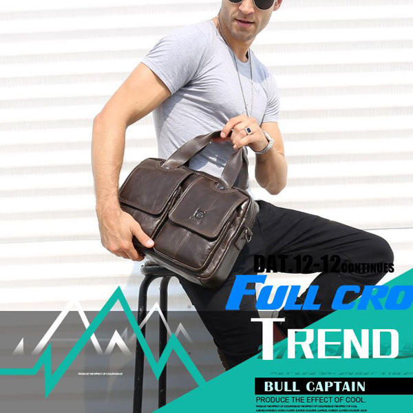 Bullcaptain® Men Retro Leather Messenger Bag Crossbody Shoulder Bag Laptop Briefcase with Shoulder Strap