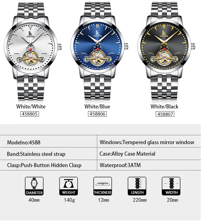 IK COLOURING K016 Business Style Automatic Mechanical Watches Business Men Watch