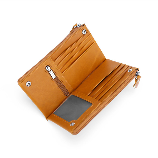 Genuine Leather Pure Color Multi-function Long Wallet