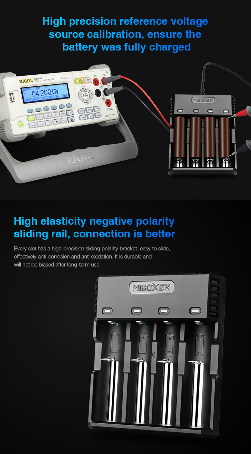 Miboxer C4S 4 Slots Indicator 1.5A Fast Charging Battery Charger For 18650 26650 21700 18350 16340 Most Battery Type