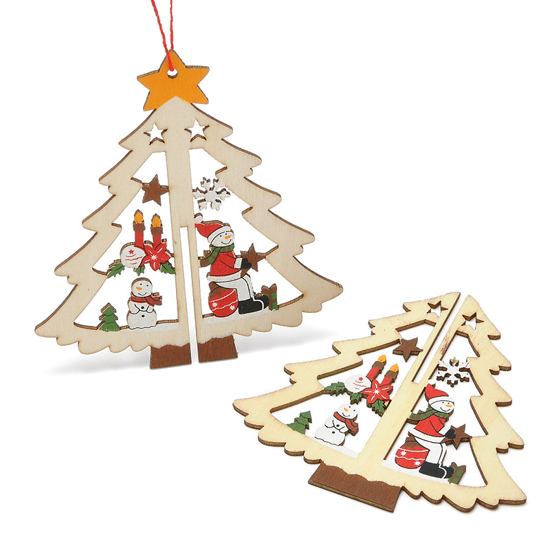 Christmas 3D Wooden Pendant Star Bell Tree Hang Ornaments Home Party Decorations Kids Gifts