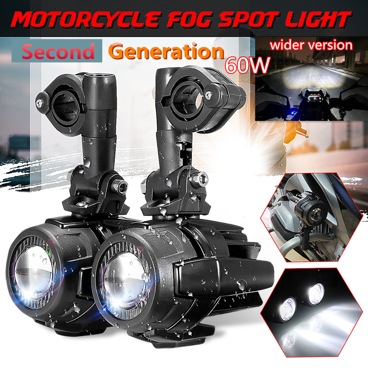 Second Generation Motorcycle LED Auxiliary Car Fog Lights Aluminum Alloy Safety Driving Spot Lamp For BMW R1200GS ADV F800G