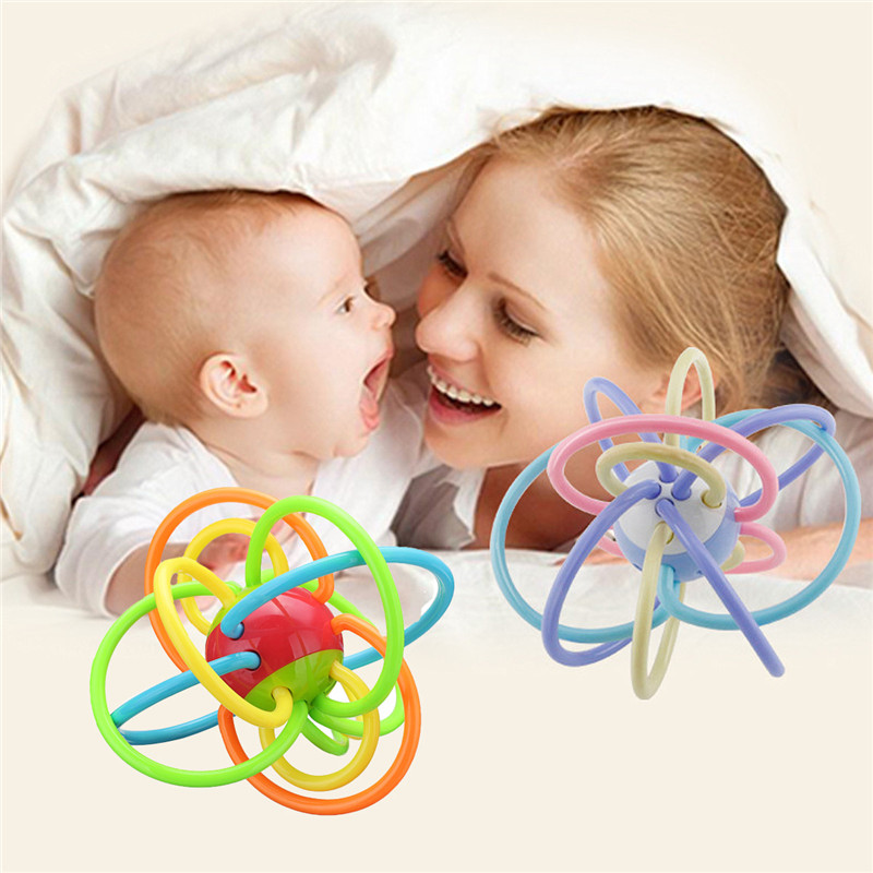 Colorful Baby Child Molar Ball Teether Soother Chain Safety Silicone Biting Ring