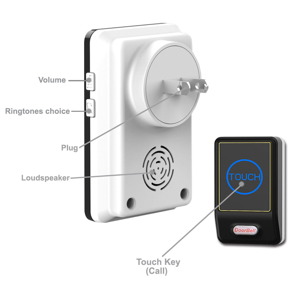 Wireless Doorbell Security Chime Alarm Smart Doorbell Plug In Door Bell EU/US/UK/AU Plug