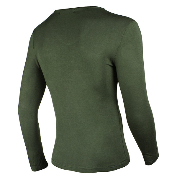 Mens Casual V-Collar T-shirt Comfortabel Outdooors Sport Long Sleeved T-shirt