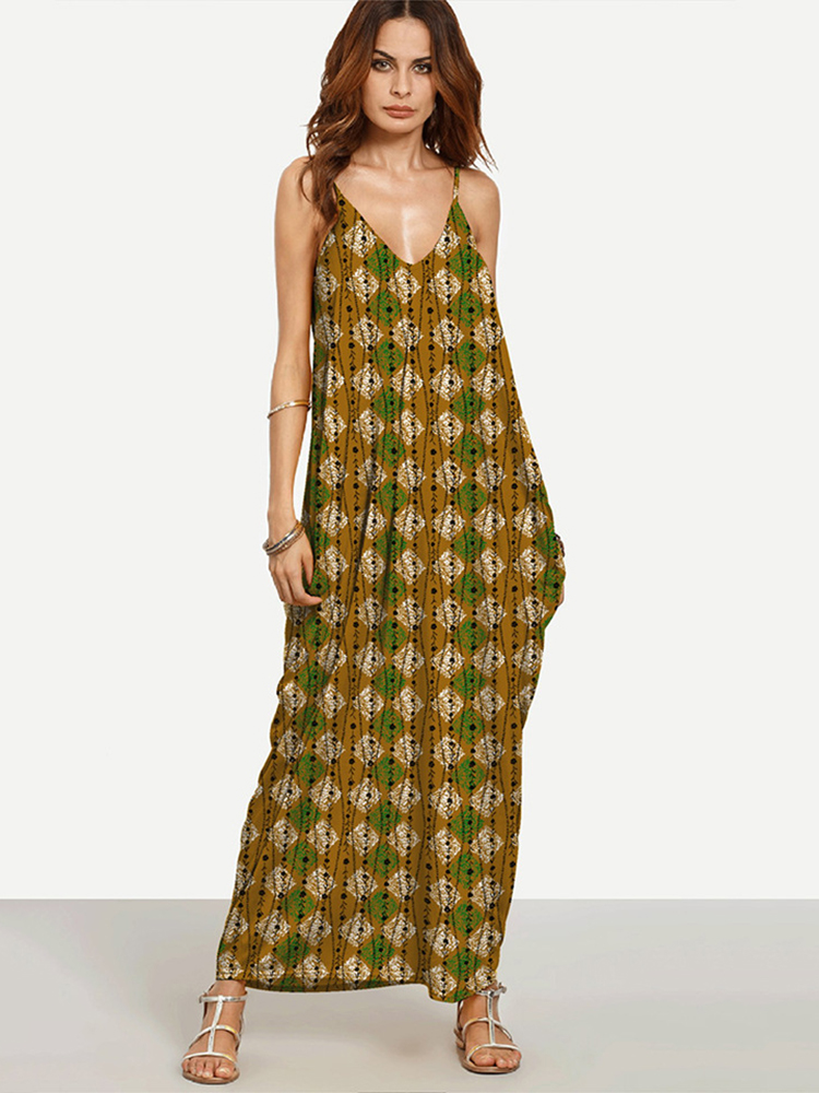 Sexy Printed V-neck Harness Women Maxi Dresses