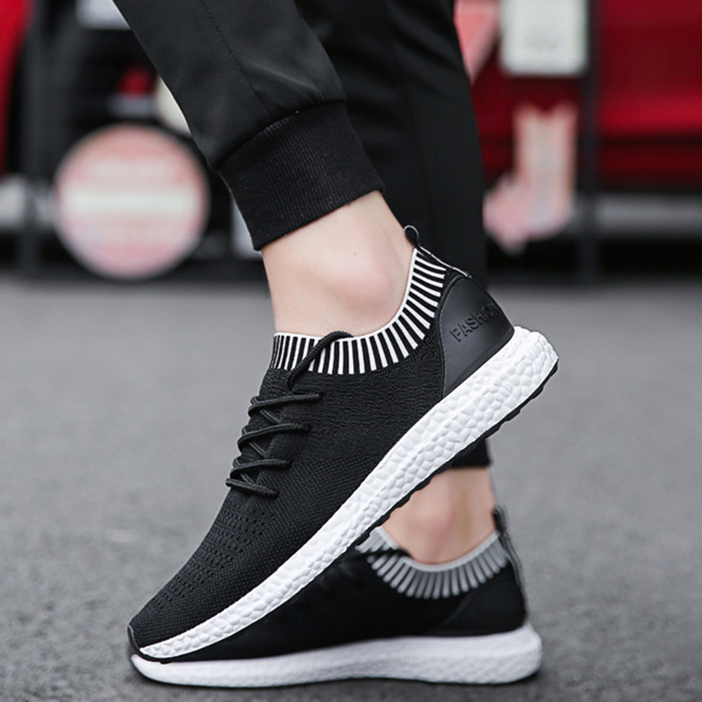 Men Breathable Knitted Sneakers Soft Casual Sports Shoes