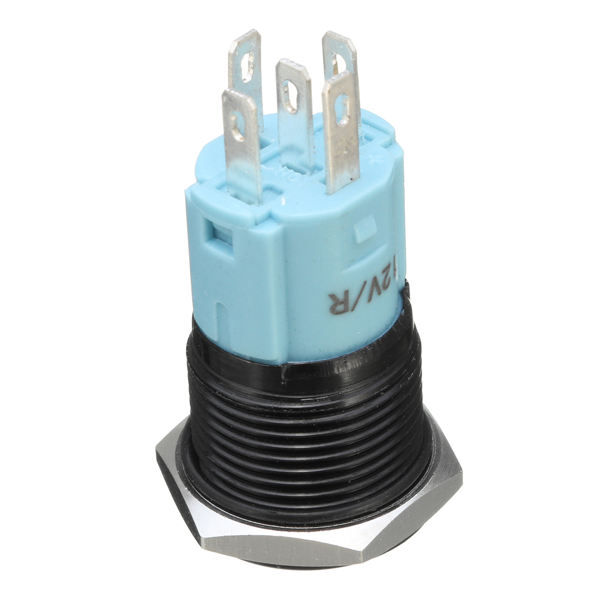 12V 5 Pin 16mm LED Light Metal Push Button Momentary Switch Waterproof