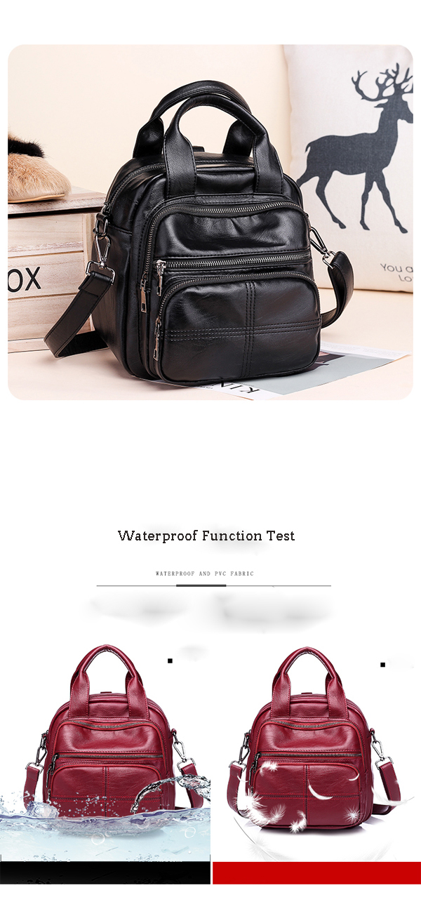 Women Multifunctional Pu Leather Crossbody Bag Backpack