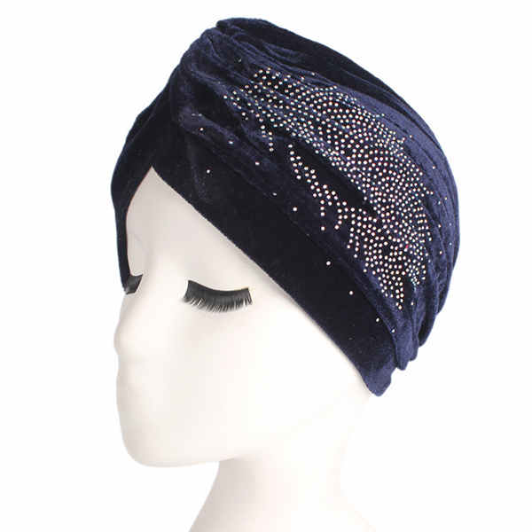 Pleuche Skullies Beanies Thin Bonnet Cap Diamond Turban