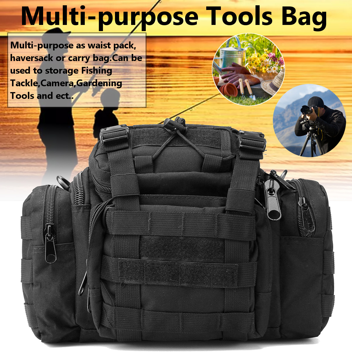 Multi-purpose Tool Bag Fishing Tackle Bag Gardening Tools Storage Pouch Waist Shoulder Pack