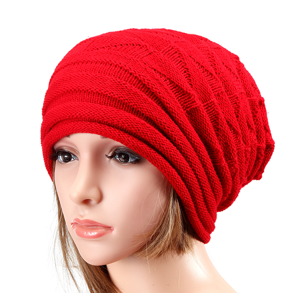 Unisex Knitted Crochet Stripe Beanie Hat Knitting Foldable Elastic Baggy Cap For Men Women