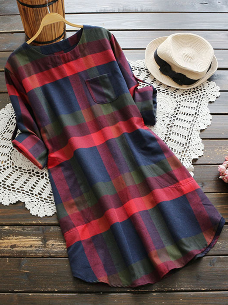 Plaid O-neck Shirt Dress